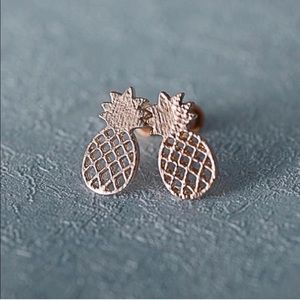 Rose Gold Dainty Pineapple Earrings Trendy